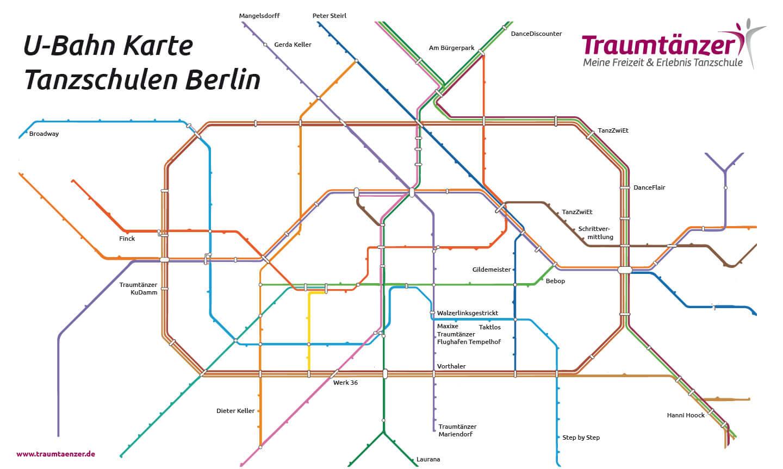 U-Bahn Karte Tanzschulen Berlin
